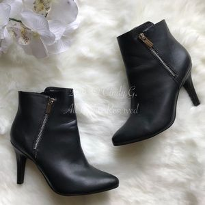 Kelly & Katie Black Leather Zippered Ankle Boots